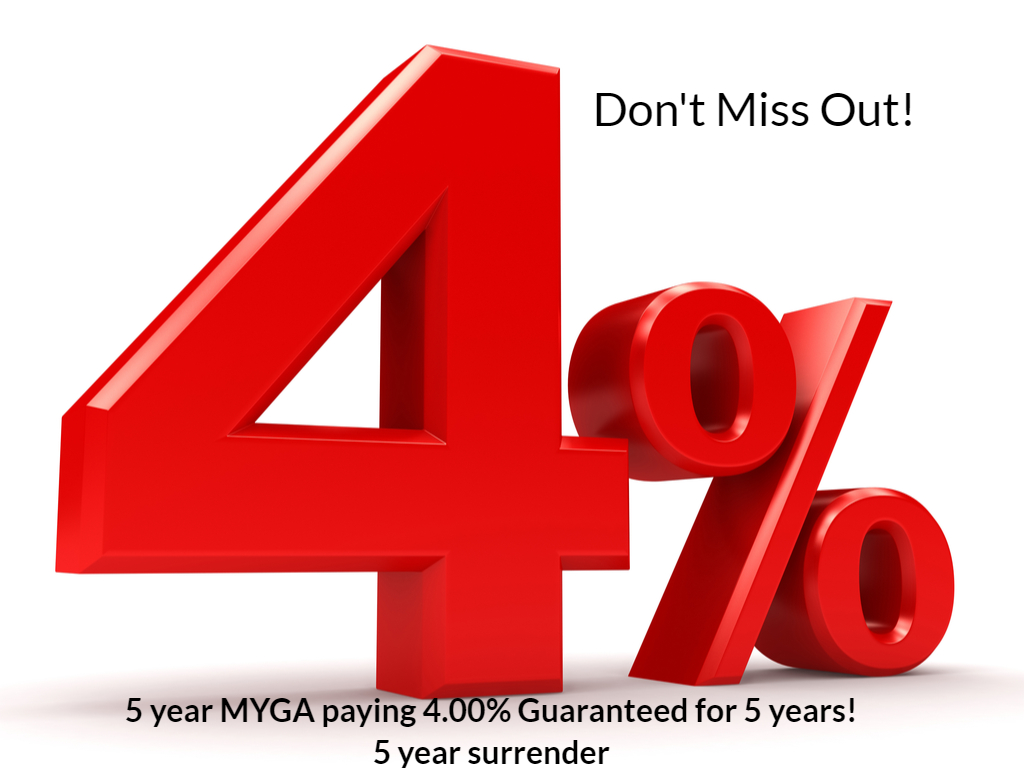 4.00%! 5 year MYGA paying 4.00% Guaranteed for 5 years!